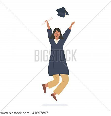 Graduated Person Celebrating Graduation. Happy Modern Female Student Joyfully Jumping And Holding Di