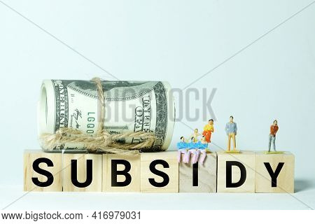 A High Key Photo Of Fake Money, Miniature And Subsidy Word Block. Subsidy Is A Grant Or Contribution