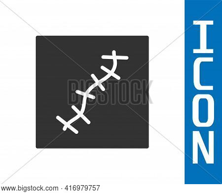 Grey Scar With Suture Icon Isolated On White Background. Vector