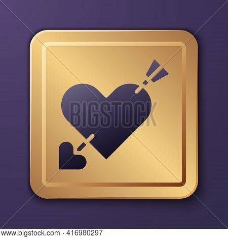 Purple Amour Symbol With Heart And Arrow Icon Isolated On Purple Background. Love Sign. Valentines S