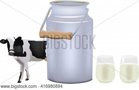 Aluminum Glasses And Bovine Milk Container Aluminum Glasses And Bovine Milk Container