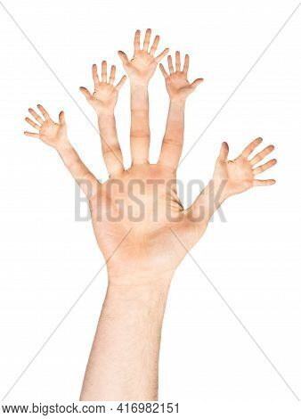 Caucasian Open Man Hand With Open Hand Fingers - Number Five Or Twenty-five Gesture, Isolated On Whi