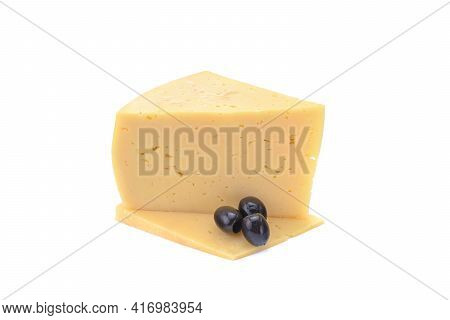Solid Yellow Gouda Cheese, Close-up, Isolated On A White Background.selective Focus.