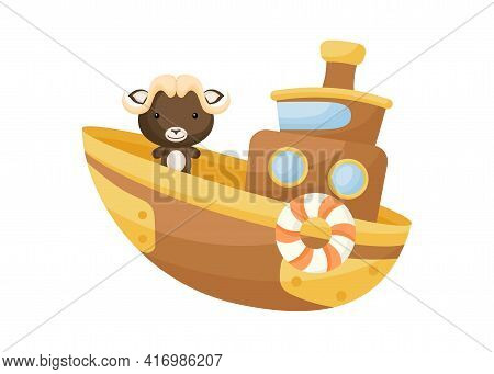 Cute Little Musk-ox Sailing On Brown Ship. Cartoon Character For Childrens Book, Album, Baby Shower,