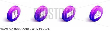 Set Isometric Envelope, Laptop With Envelope, Envelope And Envelope Icon. Vector