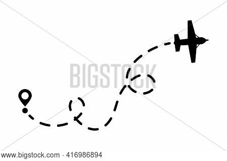 Airplane And Its Trail On A White Background. Vector Illustration