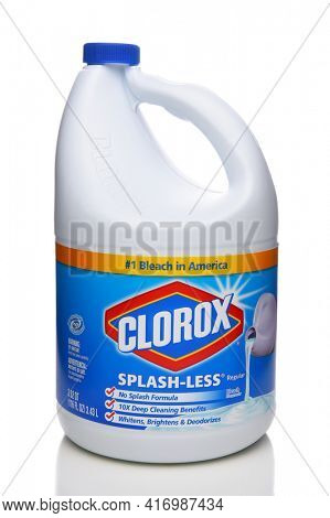 IRVINE, CALIFORNIA - APRIL 5, 2018: A Bottle of Clorox Bleach. Household bleach is a chemically combined oxidizing agent that is used to remove or lighten color.