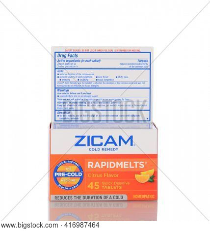 IRVINE, CA - January 05, 2014: A 45 count box of Zicam Rapidmelts Cold Remedy Citrus Flavor. The Homeopathic remedy puroprts to shorten the length of a common cold.