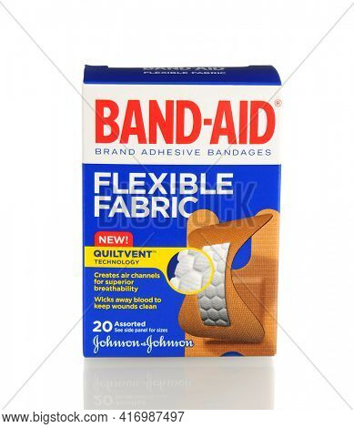 IRVINE, CA - January 21, 2013: 20 count box of Band-Aid Brand Ashesive Bandages, Flexible Fabric. The Band-Aid was invented in 1920 by Johnson and Johnson employee Earle Dickson.
