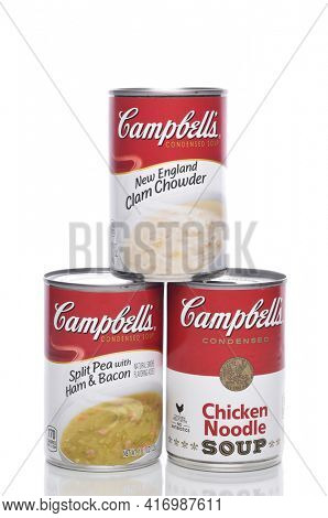 IRVINE, CALIFORNIA - 8 APRIL 2020:  Three Cans of Campbells Soups, Split Pea, Clam Chowder and Chicken Noodle.