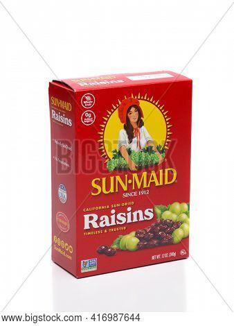 IRVINE, CALIFORNIA - 25 MAY 2020: a 12 ounce box of California Sun Dried, Sun Maid Raisins.