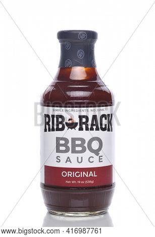 IRVINE, CALIFORNIA - 8 APRIL 2020: A bottle of Rib Rack BBQ Sauce, Original Flavor.