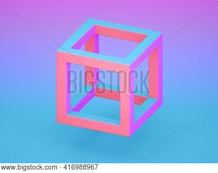 Colorful Cube Frame Over Blue Pink Gradient Background With Soft Shadow, Isometric View, 3d Renderin
