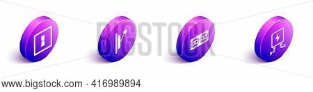 Set Isometric Electric Light Switch, Electrical Panel, Electrical Outlet And Electric Transformer Ic
