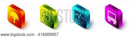 Set Isometric Light Emitting Diode, Electric Plug, Electrical Measuring Instruments And Fuse Icon. V