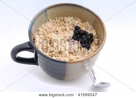 Hearty Breakfast Of Oatmeal And Blueberries