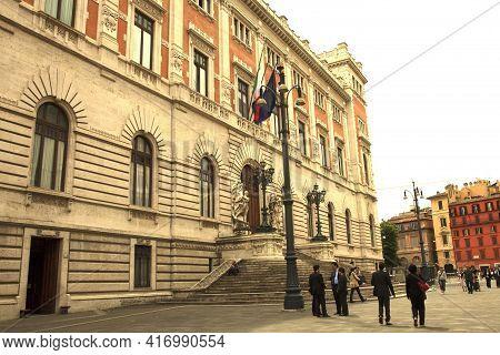 Roma, Italy - October 04, 2017: Italian Parliament Building, Piazza Del Parlamento, Montecitorio, Ro