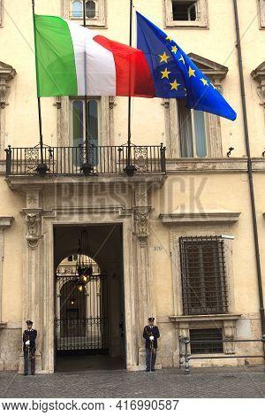 Roma, Italy - October 04, 2017: Palazzo Chigi Gate, Rome, Italy.