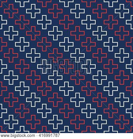 Abstract Vector Seamless Medical Pattern With Outline Red And White Crosses On Blue Background. Medi