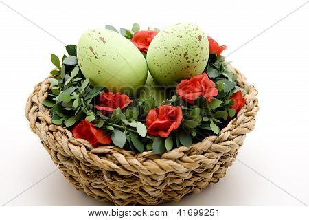 Eastereggs with Red Roses in Basket