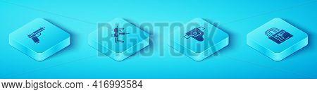 Set Isometric Pistol Or Gun, Mp9i Submachine, Buying Pistol And Gun Holster Icon. Vector