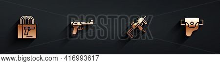 Set Buying Gun Pistol, Desert Eagle, Mp9i Submachine And Gun Holster Icon With Long Shadow. Vector