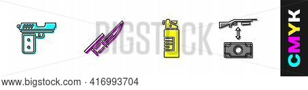 Set Pistol Or Gun, Bayonet On Rifle, Weapons Oil Bottle And Buying Assault Icon. Vector