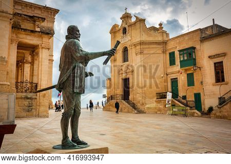 Valletta, Malta - January 11, 2019: Statue of Jean de Valette in the city center of Valletta, the capital of Malta.