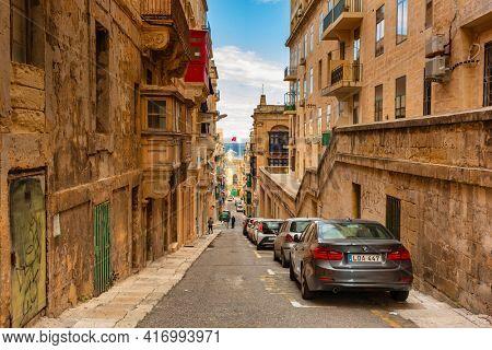 Valletta, Malta - January 11, 2019: Beautiful architecture of the city center in Valletta, the capital of Malta.