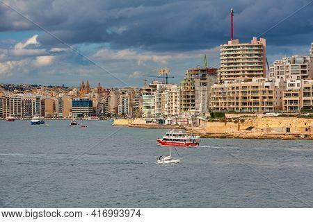 Valletta, Malta - January 11, 2019: Tourists boats in the harbor of Sliema on Malta.