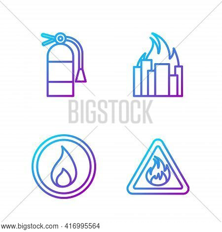 Set Line Fire Flame In Triangle, Fire Flame, Fire Extinguisher And Fire In Burning Buildings. Gradie
