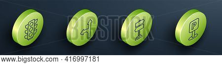 Set Isometric Traffic Light, Road Traffic Sign, Road Traffic Sign And Parking Icon. Vector