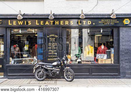 June 2020. London. Lewis Leathers Shop Front In Marylebone, London, England Uk