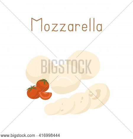 Gourmet Italian Mozzarella Cheese With Cherry Tomatoes. Whole Mozarella Balls And Its Cut Pieces. Co