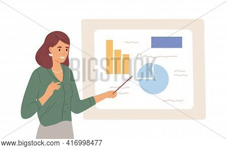 Female Speaker Pointing At Presentation On White Board During Business Seminar. Office Worker Showin