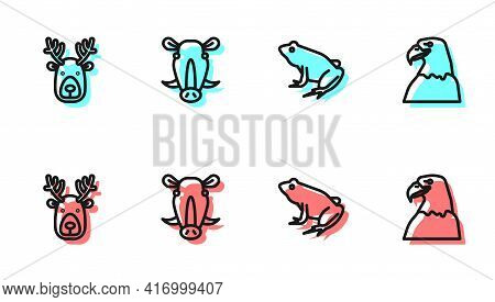 Set Line Frog, Deer Head With Antlers, Wild Boar And Eagle Icon. Vector