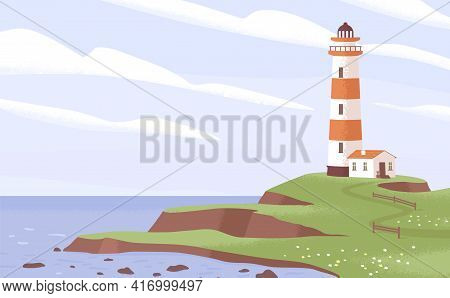 Scenic Landscape With Lighthouse Tower On Sea Or Ocean Coast. Peaceful Seascape With Light House On