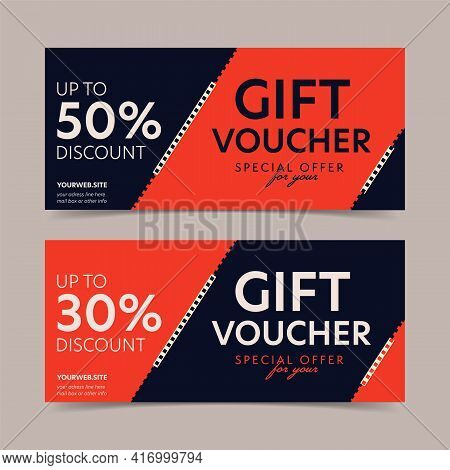 Gift Voucher With Up To 30 And 50 Percent Special Discount. Elegant Horizontal Present Coupon Mockup