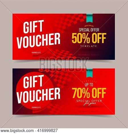 Gift Voucher With Price Cutout Up To 50 And 70 Percent Off. Coupon Discount Template. Present Certif