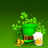 Saint Patrick's Day background or greeting card with Leprechaun Hat, gold coins, shamrocks and beer mug on green background. EPS 10. poster