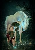 a girl and a unicorn watching fireflies at a pond poster