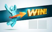 """3d vector jumping man with arrow and """"Win!"""" word. Success concept design template. EPS10 file. poster"""