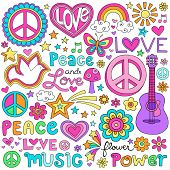 Peace Love and a Dove Flower Power Groovy Psychedelic Notebook Doodles Set with Butterfly, Peace Sign, Acoustic Guitar, Rainbow, Hearts, and More poster