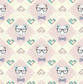 Seamless pattern with hipster polar bear and hearts. Cute background for children or teenagers. poster