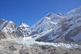 Mount Everest And Khumbu Glacier In Nepal. Everest Base Camp.