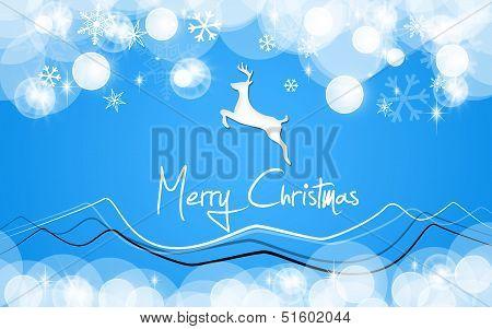 Merry christmas card blue deer