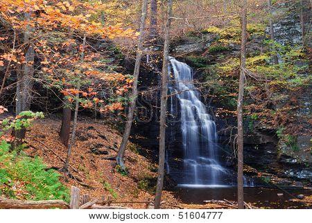 Autumn Waterfall in mountain with foliage. Bridesmaid Falls from Bushkill Falls, Pennsylvania.