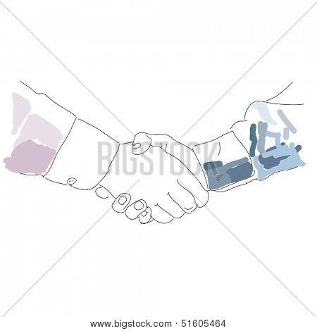 Partneship. Sketch handshake. Vector Handshake Icon Symbol.