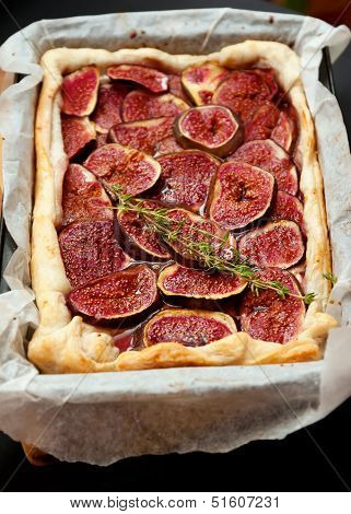 Fig pie with brie cheese