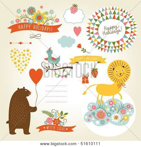 Set of animals illustrations and graphic elements for invitation cards, party invitation, holiday gifts, birthday cards